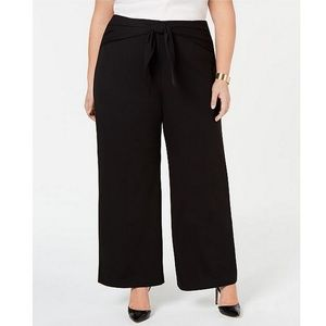 Alfani Tied High Waist Wide Leg Black Dress Pants